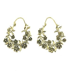 GOLD Color Brass Floral Hoop Earrings Boho Chic